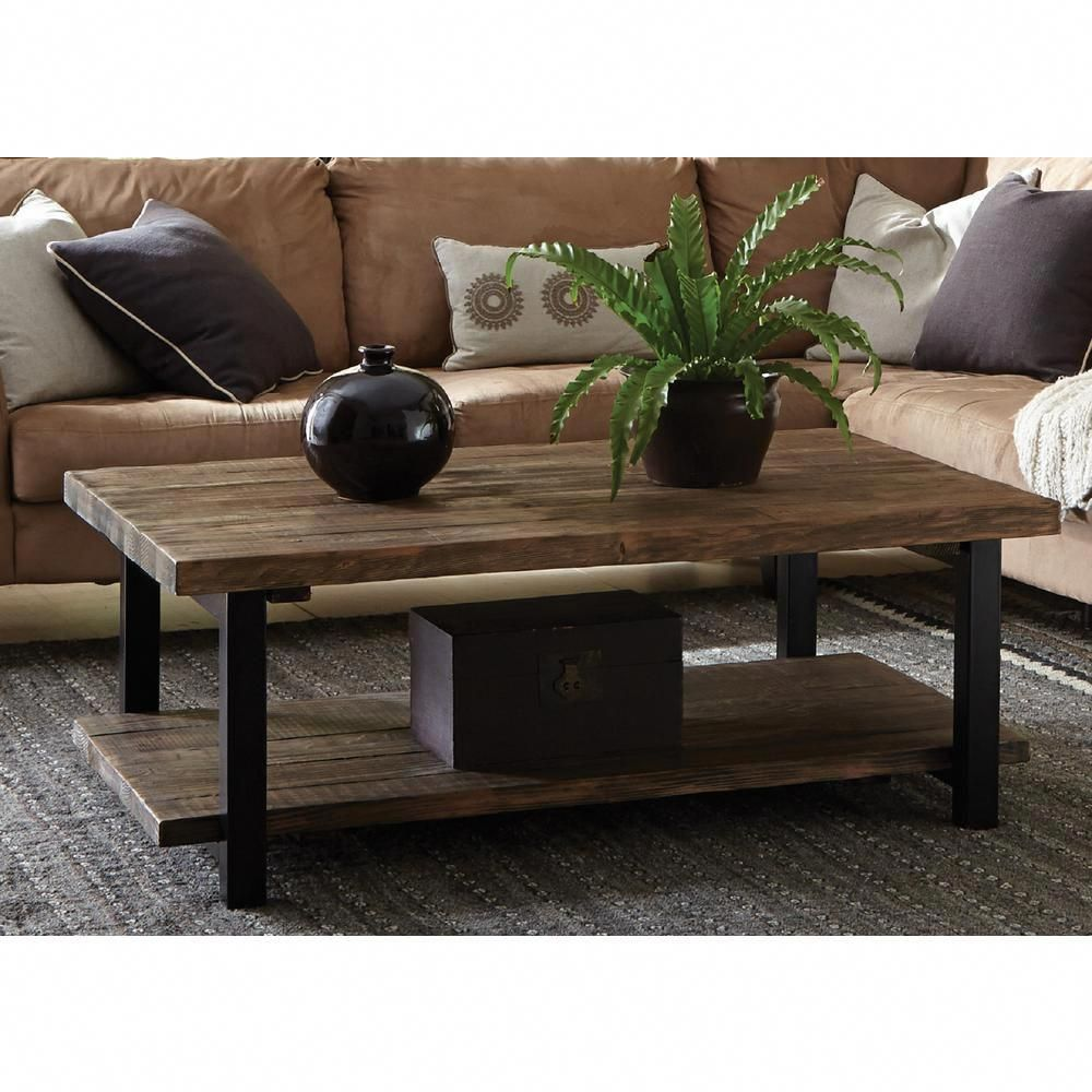 Alaterre Furniture Pomona Rustic Natural Coffee Table AMBA1220   The Home  Depot #RusticWoodCoffeeTable