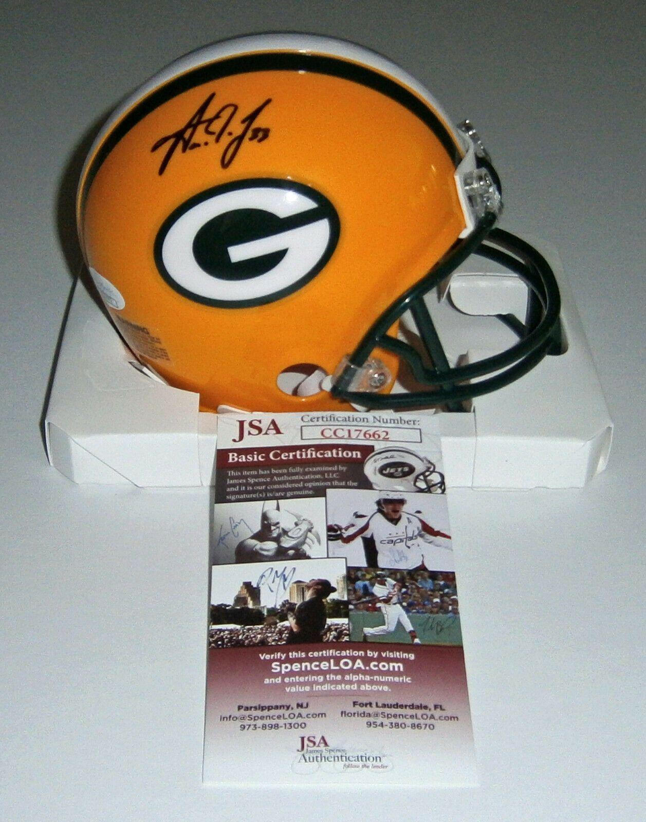 Packers Aaron Jones Signed Mini Helmet W 33 Jsa Coa Auto Autographed Green Bay Jones Sign Autograph Green Bay