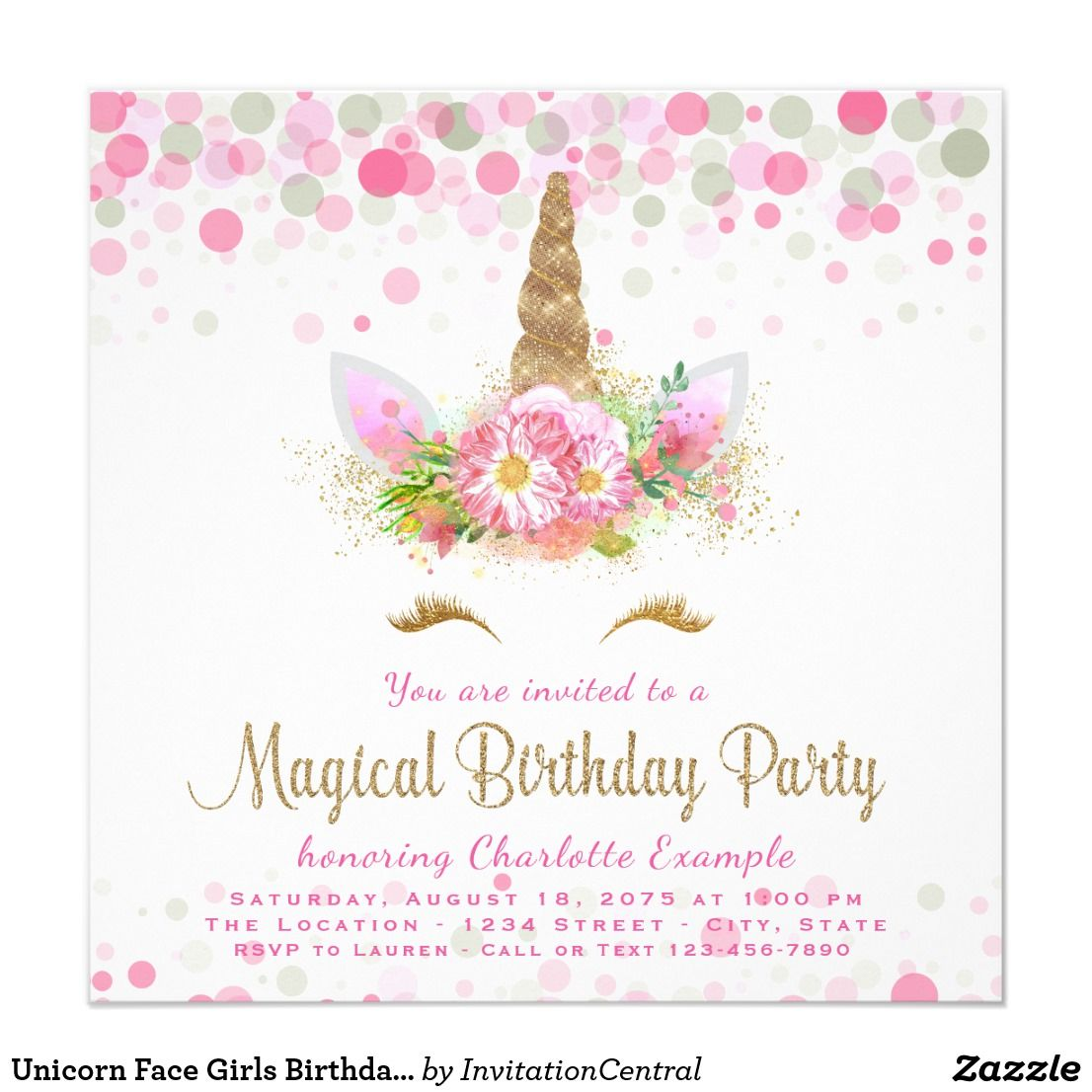 Unicorn Face Girls Birthday Party Invitations Unicorn Face Party