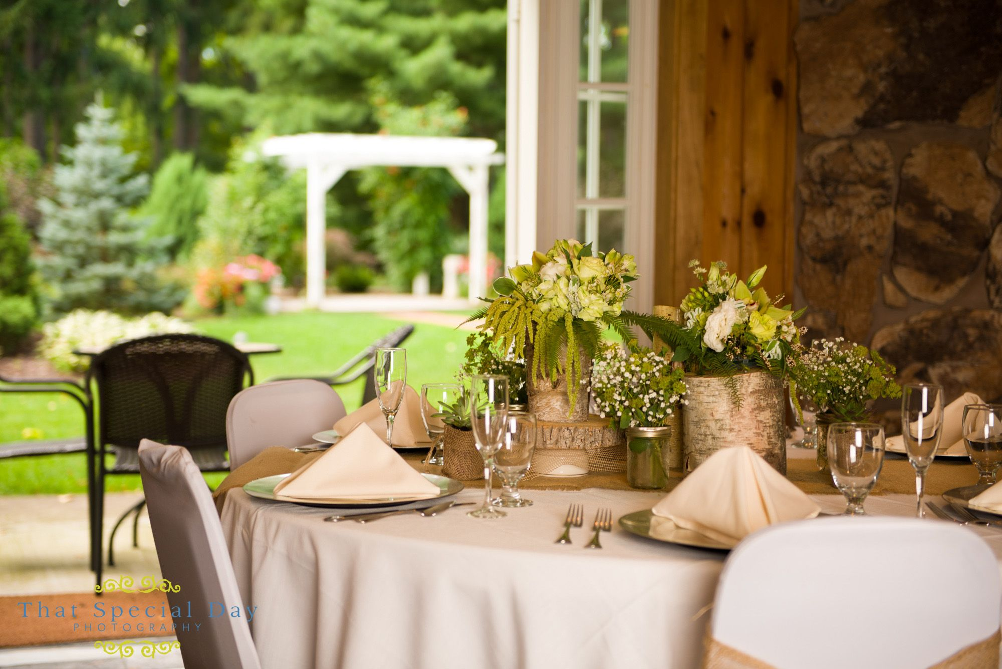 The Adirondack room opens up to our beautifully landscaped