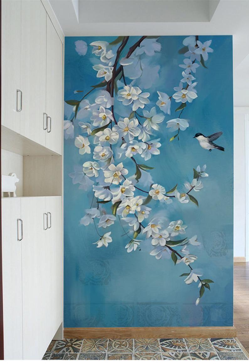 Pittura A Olio Fiori E Uccello Carta Da Parati Murale Colore Etsy Wall Murals Bedroom Tree Wall Murals Mural