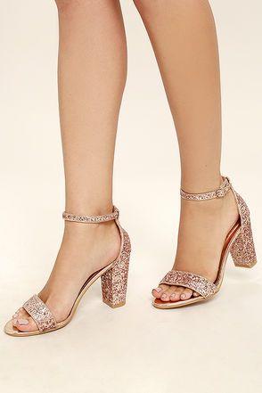 e6ee385e7877c Stunning Champagne Heels - Rose Gold Heels - Glitter Heels -  37.00