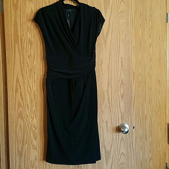 """NWT Little Black Dress The Limited sz 10 NWT sz 10. The Limited event collection. Super flattering fit faux wrap dress. Has asymmetrical fabric in kind of a """"belt"""" shape over tummy and darts at left hip. Size zip. Skirt """"wraps"""" at front and has a non-revealing slit. The Limited Dresses"""