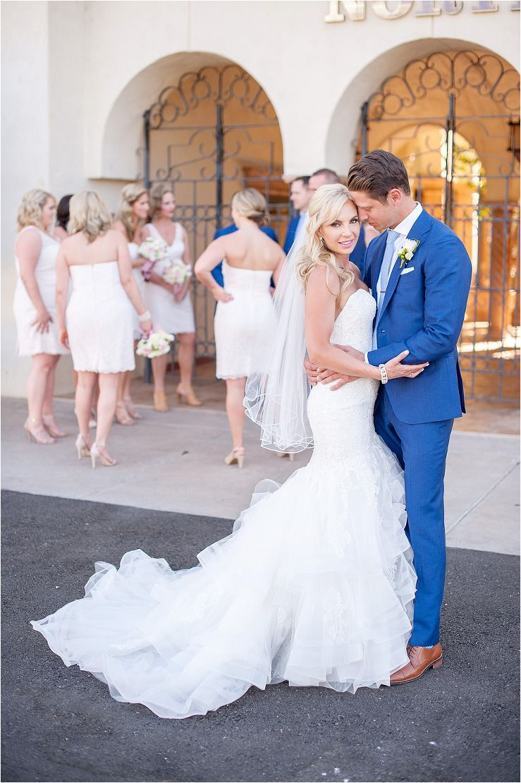 Glam Scottsdale Wedding At The McCormick Golf Course With Pale Pink Bridesmaid Dresses And Royal Blue