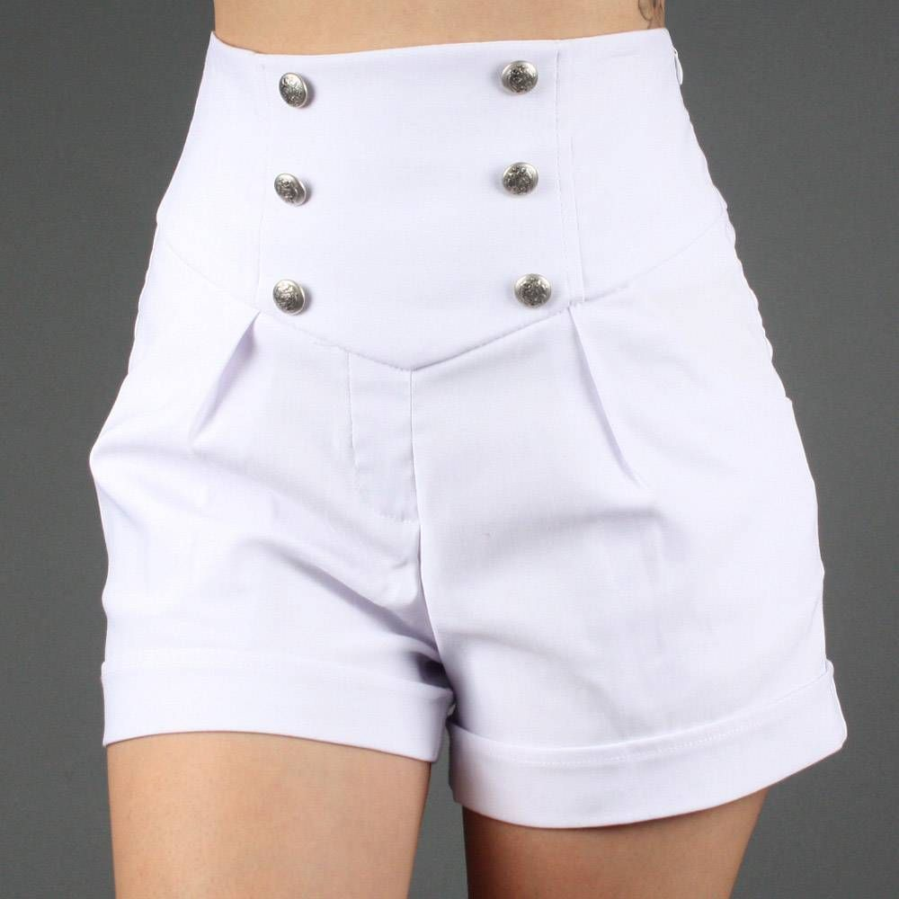 white military button nautical high waisted shorts - if only i