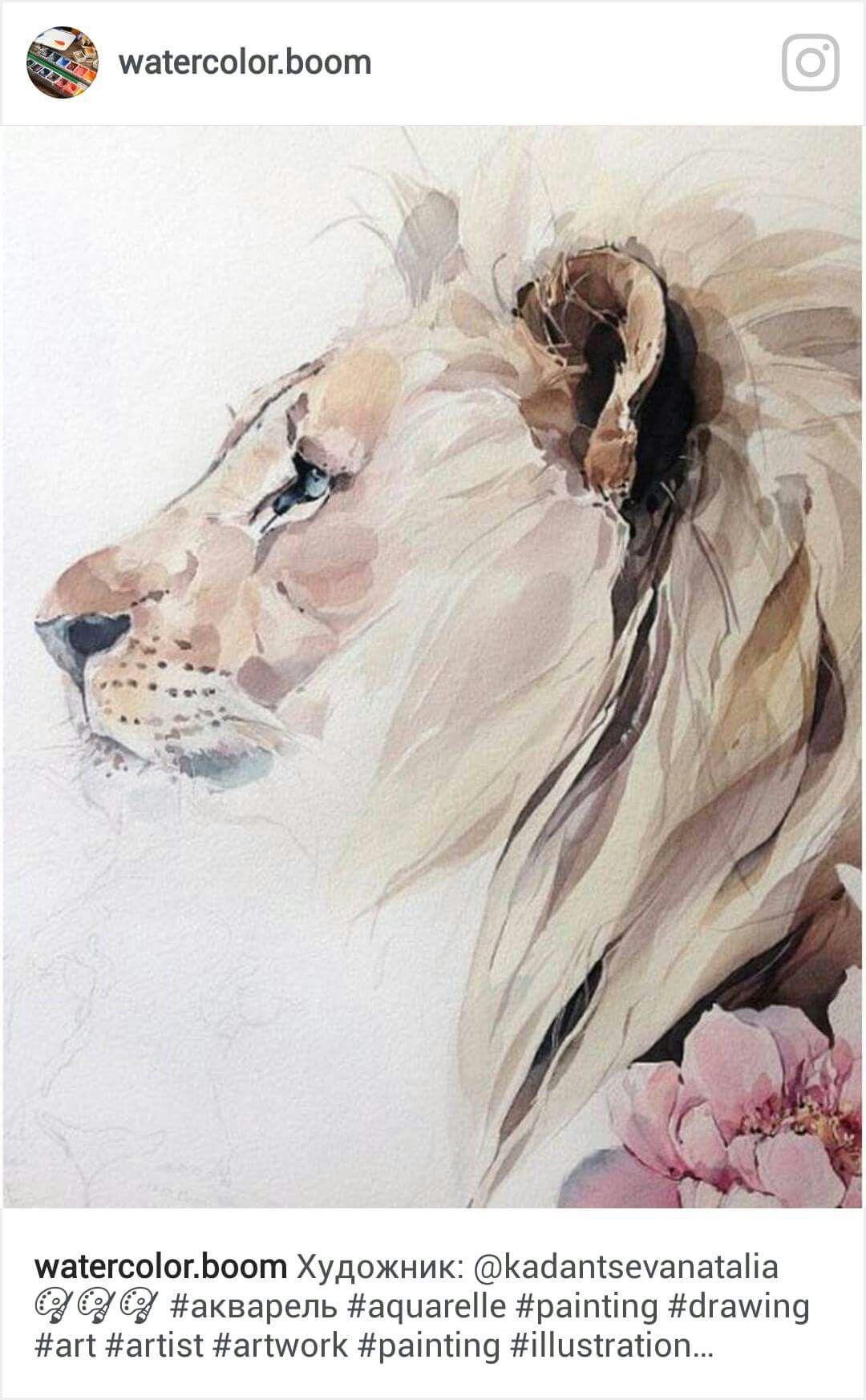 Lion Aquarelle Lion Painting Watercolor Lion Watercolor Paintings