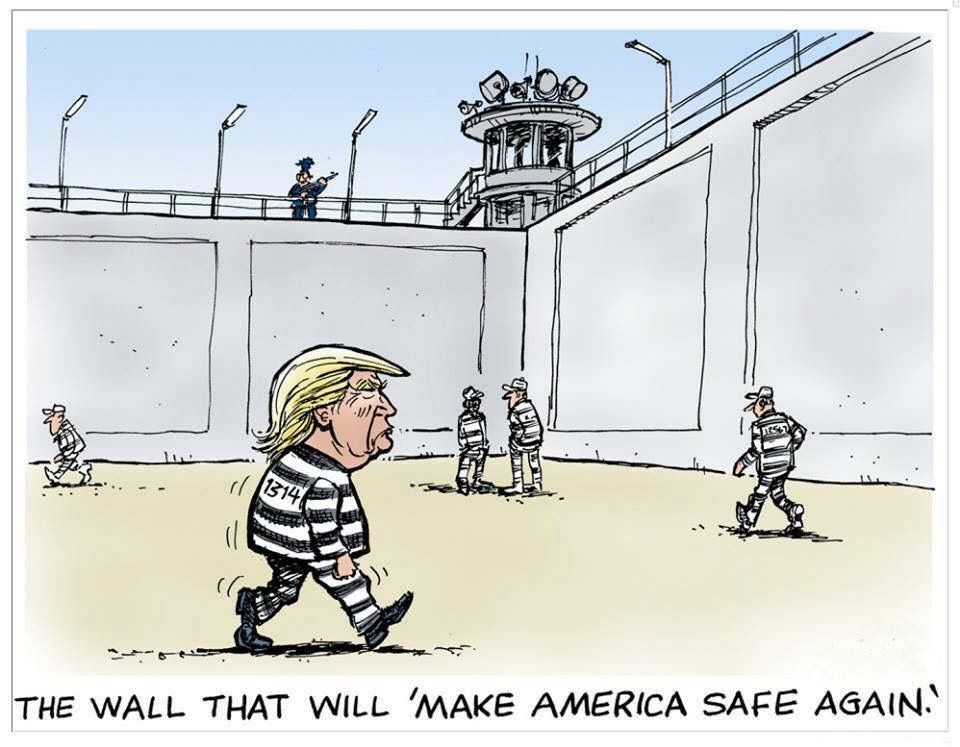 Image result for trump wall cartoons