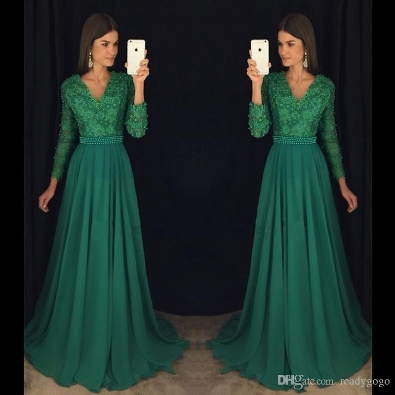 Emerald Green Lace Chiffon Long Sleeve Prom Pageant Dresses 2018