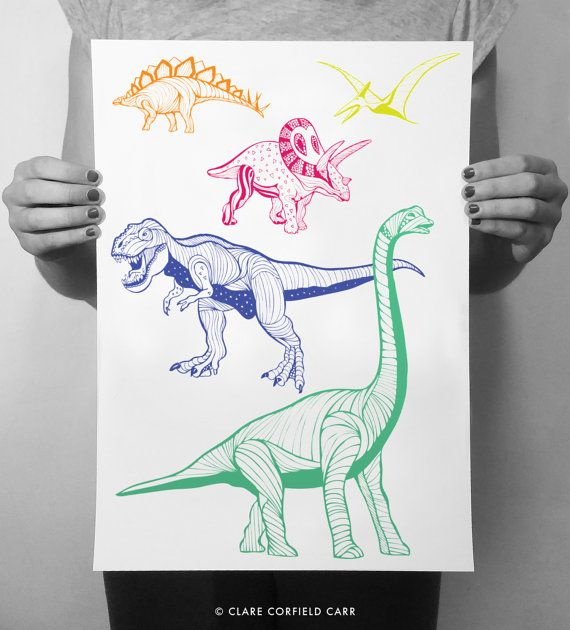 Dinosaur Poster | Trex Print | Children's Decor | #dinosaurillustration
