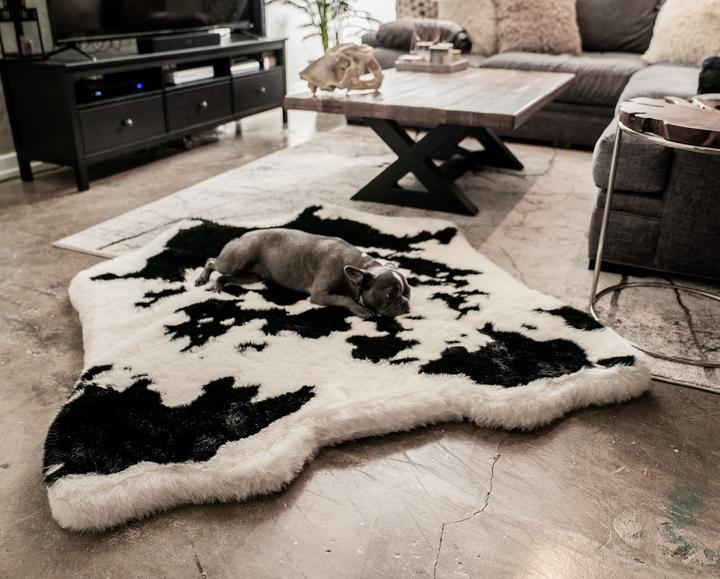 PupRug™ Animal Print Memory Foam Dog Bed Black Faux