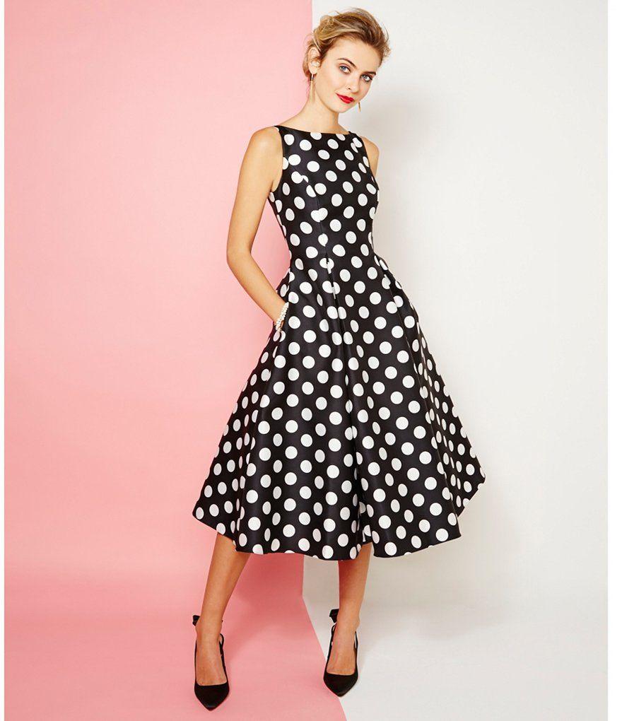Adrianna Papell Polka Dot Tea Length Dress | La Mode | Pinterest ...