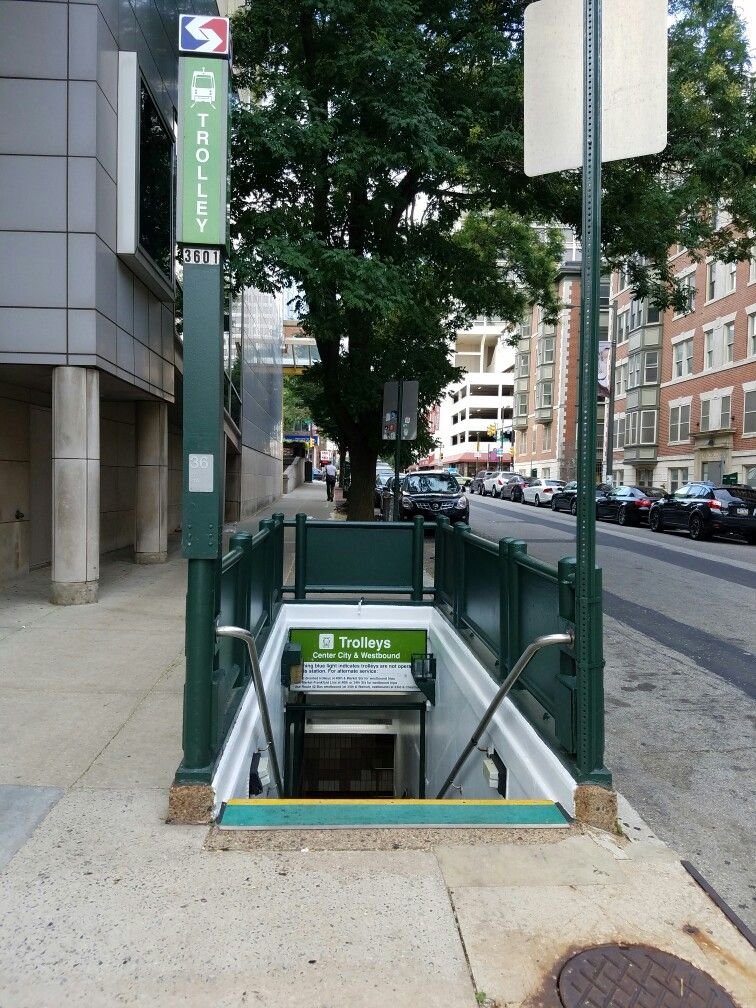 This entrance leads to the 36th Street station on SEPTA's subway-surface  trolley line in the University City neighborhood of West Philadelphia.