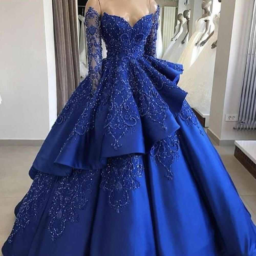 Royal Blue Prom Dresses Long Sleeve Sweetheart Neckline Off The Shoulder Blue Ball Gown Bead Ball Dresses Prom Dresses Ball Gown Prom Dresses Long With Sleeves [ 1000 x 1000 Pixel ]