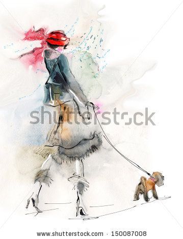 Stylish woman with small dog - stock photo id 150087008