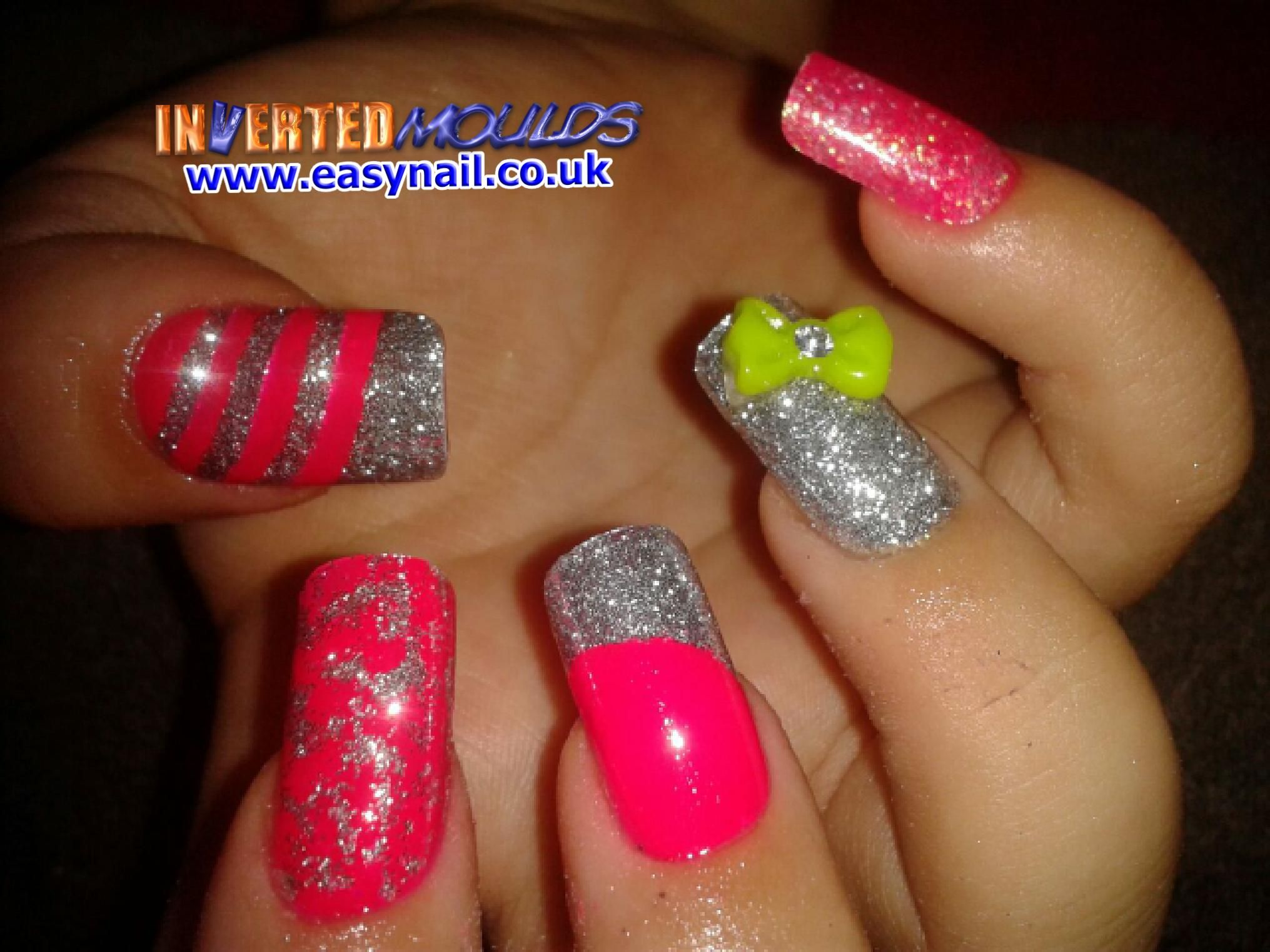 Mega Neon Pink and Silver Glitter Inverted Moulds by