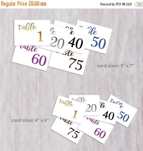 Wedding Table Numbers Sign
