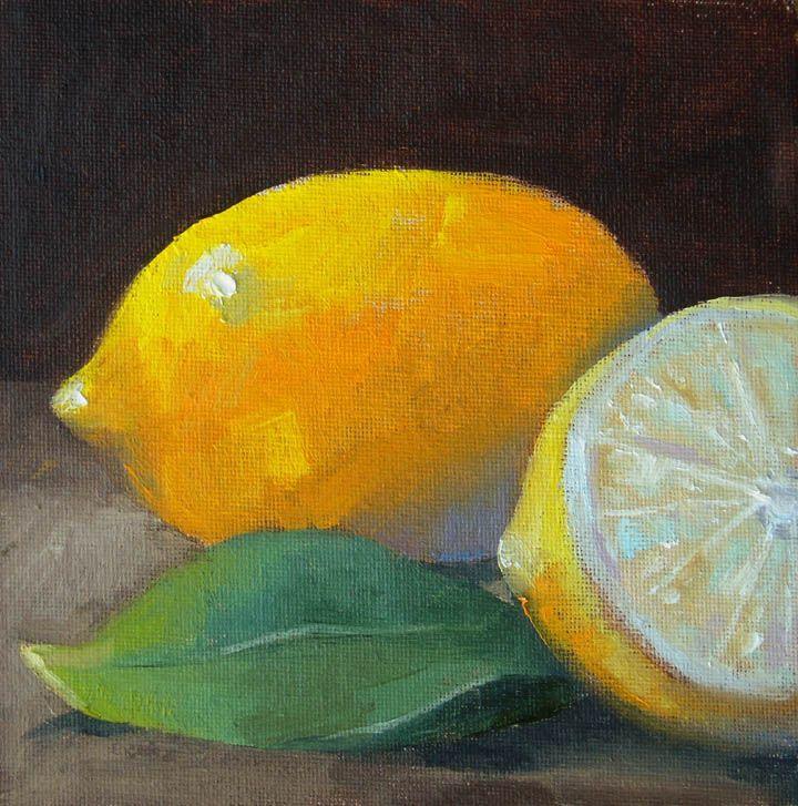 2013 Paintings by Richard Clem: February 25, 2013 Lemon & Half © 6x6 Oil on Canvas Studio Painting- Alla Prima