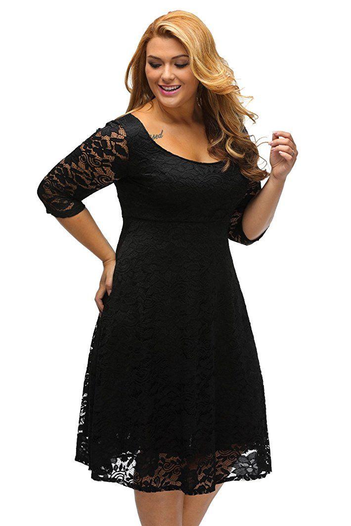 ILFtrend Spitze Blumen Große Größen Kleid Partykleider Cocktail Kleid  -  silvester outfit damen silvester outfit 42e05c264c