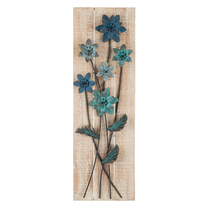 Blue & Turquoise Metal Flower Wall Decor   Metal tree wall ...