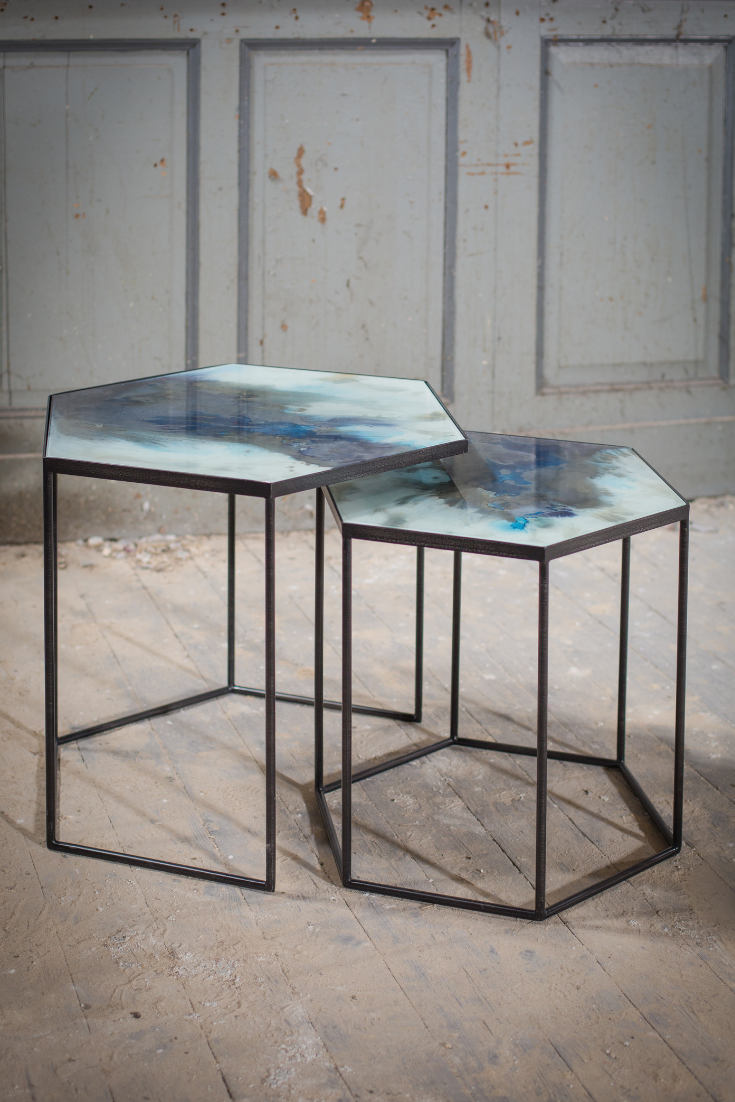 A Beautiful Set Of Two Side Tables With Black Legs In A Hexagonal Shape The Glass Tops Look Stunning Finished In A Min Coffee Table Hexagonal Table Side Table [ 1102 x 735 Pixel ]