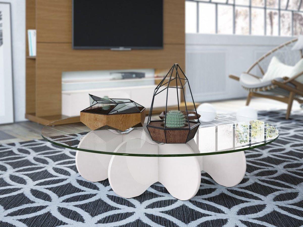 Manhattan Comfort Waverly 28 Round Glass Top Accent End Coffee Table Coffee Table White White Coffee Table Modern White Gloss Coffee Table [ 900 x 1200 Pixel ]