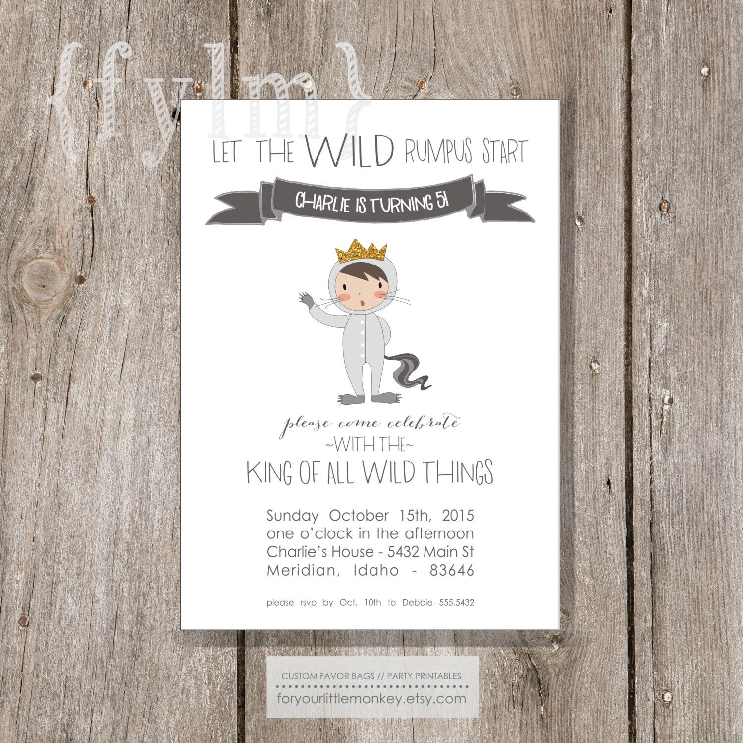 WILD THINGS Party Printable Party Invitations - I design - Wild Rumpus - YOU Print by foryourlittlemonkey on Etsy https://www.etsy.com/listing/234684177/wild-things-party-printable-party