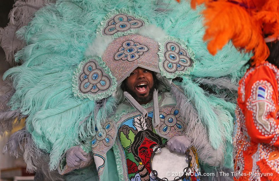 The Golden Eagles Mardi Gras Indians perform on the Jazz & Heritage Stage during the Jazz & Heritage Festival on Sunday, April 30, 2017