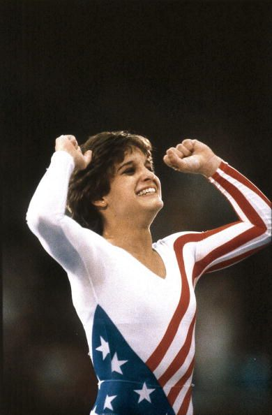 1984 Summer Olympics Closeup of USA Mary Lou Retton victorious after winning All Around Individual competition at Pauley Pavilion Cover Los Angeles...