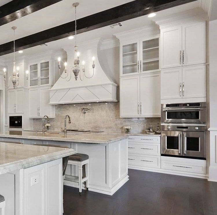 White Double Height Kitchen Cabinetry Kitchen Cabinetry Kitchen Design Double Height Kitchen