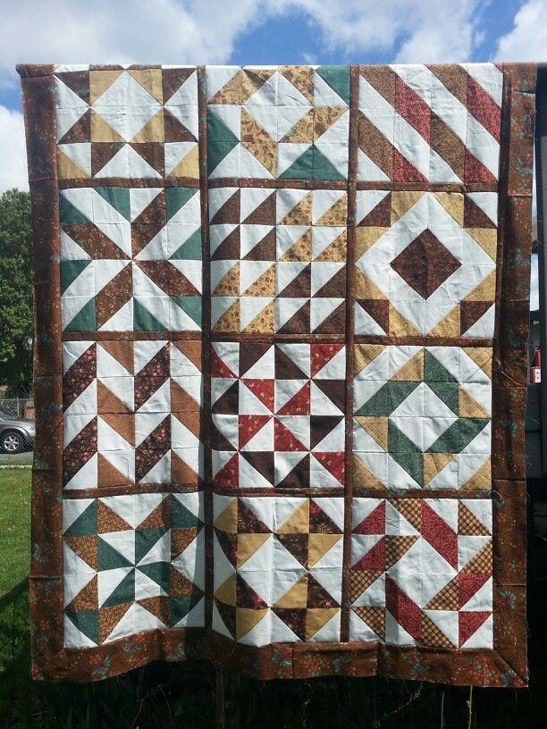 The finishing results of my half square triangle quilt along.