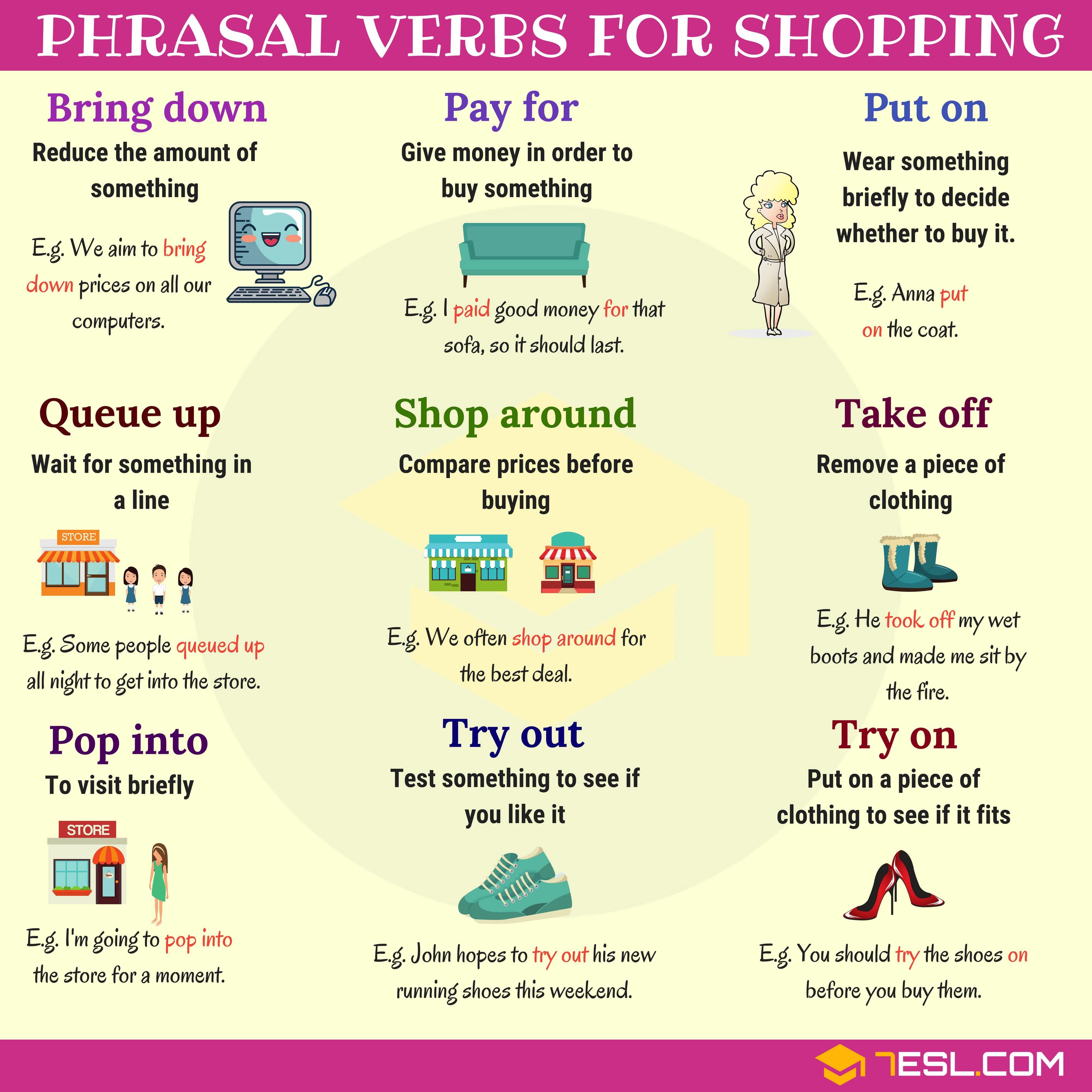 Shopping vocabulary 19 useful phrasal verbs for shopping