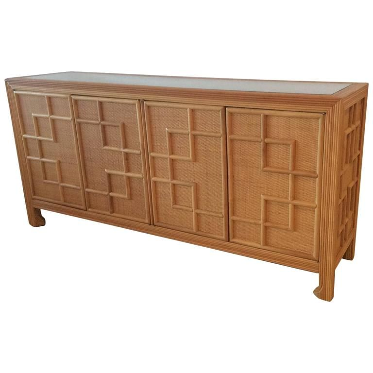 Pencil Reed Bamboo Rattan Wicker Credenza Vintage Buffet Sideboard Dresser