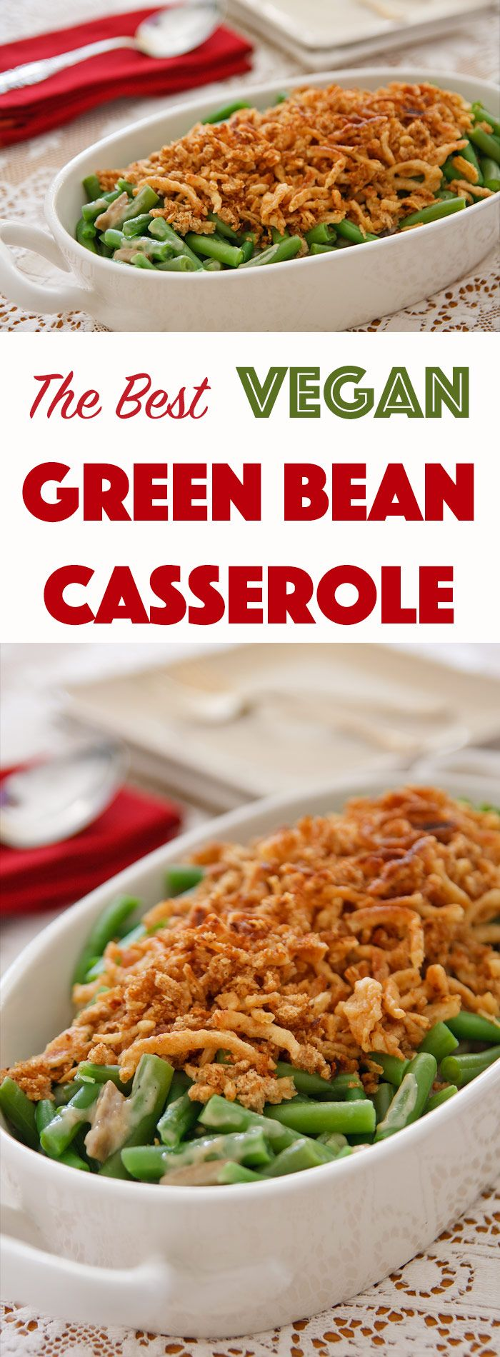 The Best Vegan Green Bean Casserole Recipe Vegan Thanksgiving