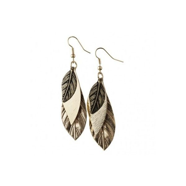 Layered Drop Leaf Earrings Earrings (9.99 AUD) ❤ liked on Polyvore featuring jewelry, earrings, leaves jewelry, leaves earrings, leaf jewelry, layered jewelry and layered earrings