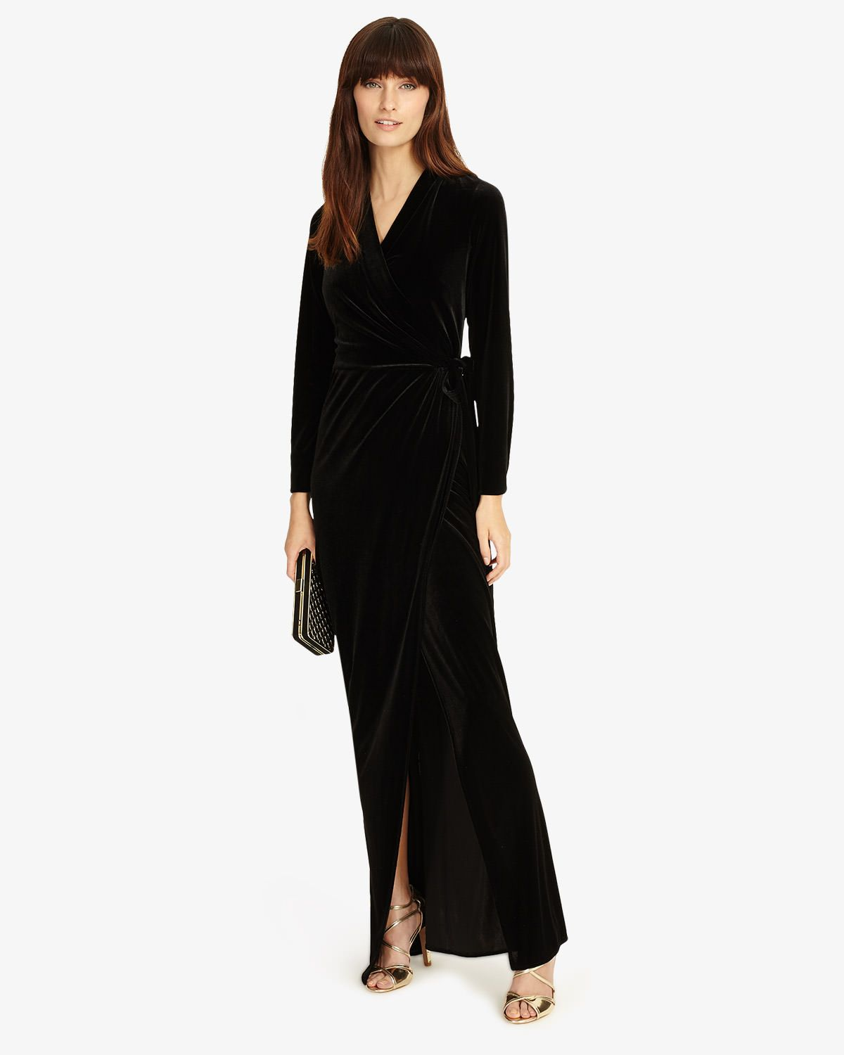 Valeria black velvet full length dress elegant black tie wedding