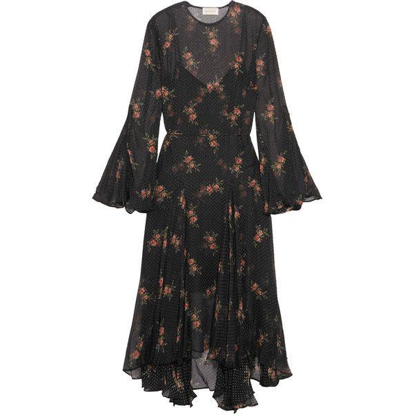 Folly Floral-print Swiss-dot Chiffon Midi Dress - Black Zimmermann Boma5XN