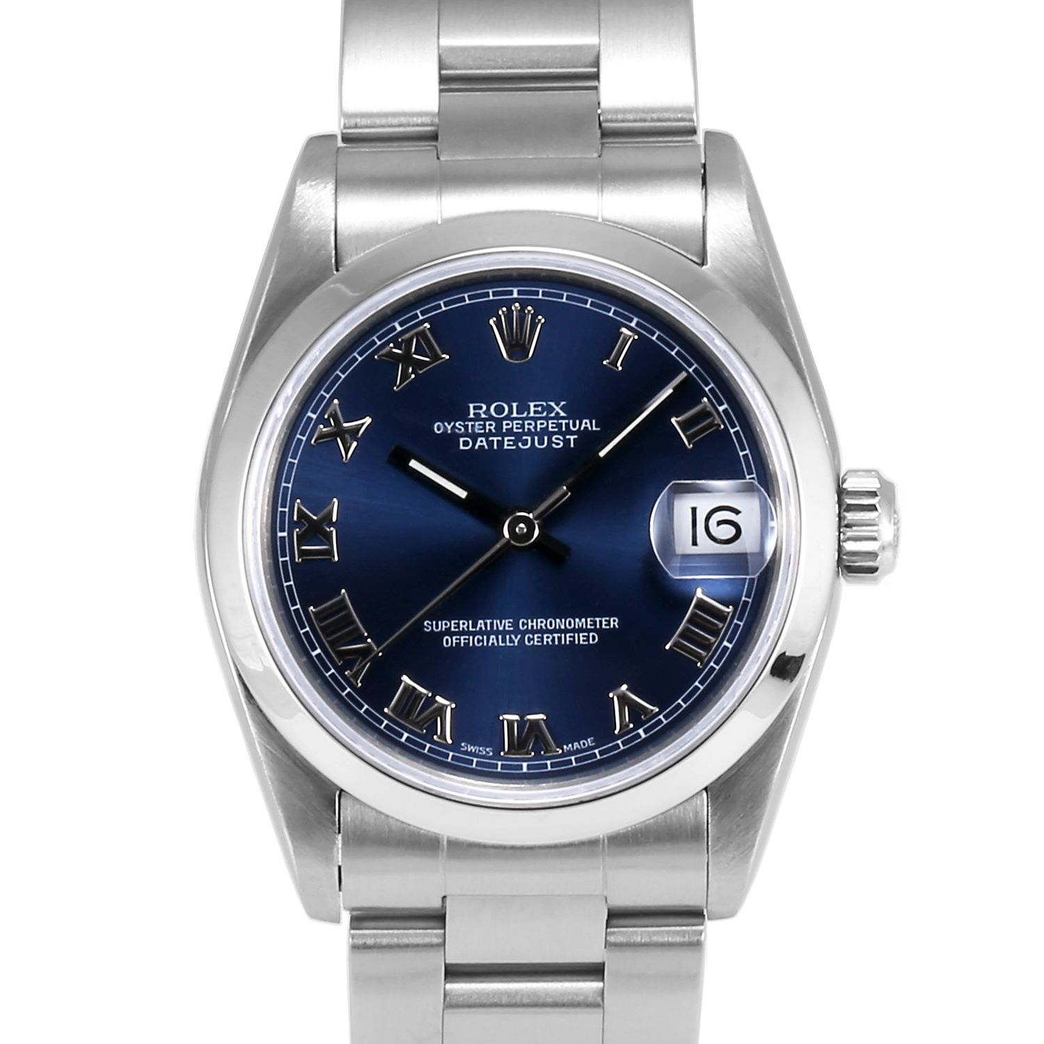Midsize Rolex Datejust Stainless Steel Blue Roman Numeral