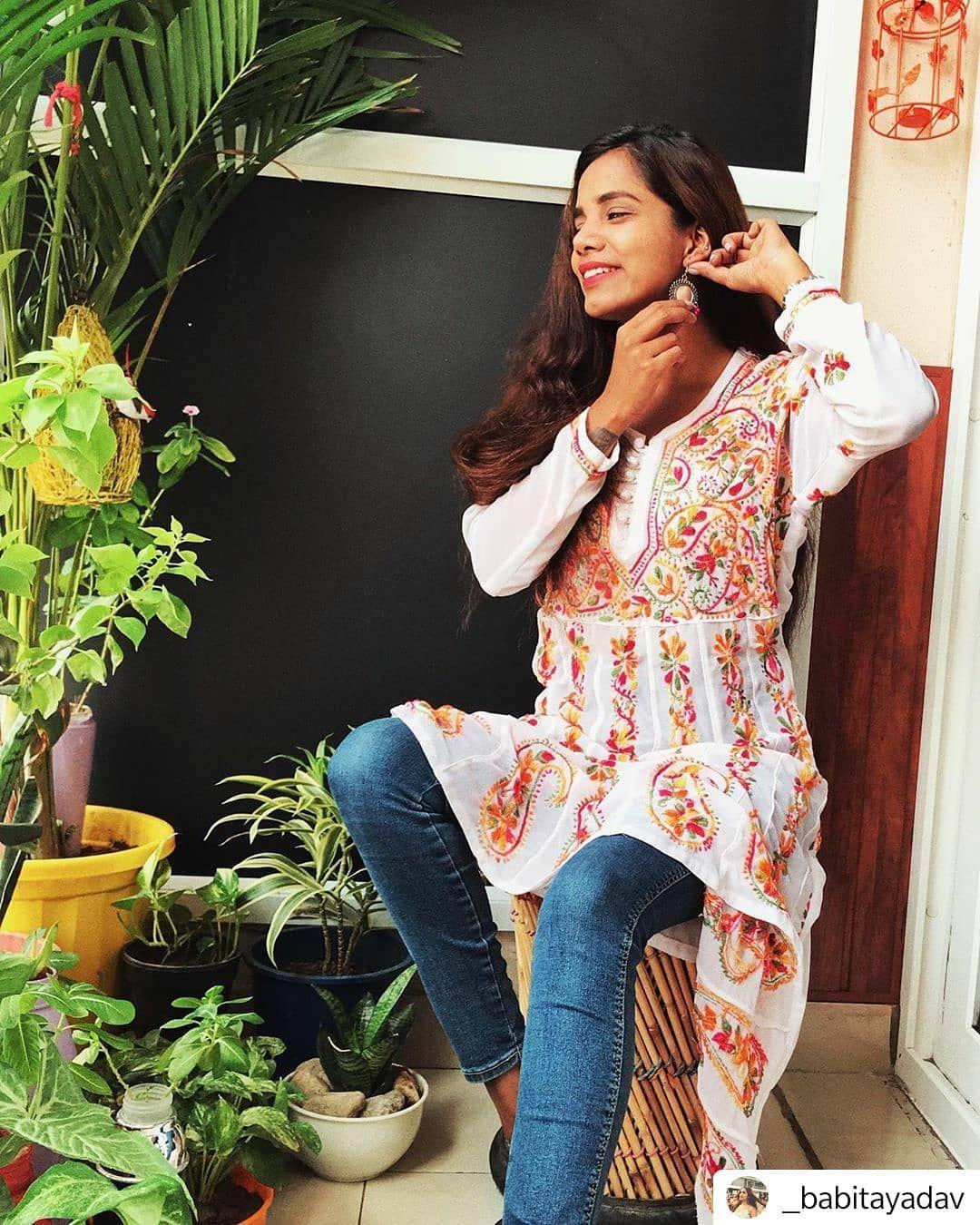 Details about  /NEW INDIAN Beige Chikankari Georgette Kurti Casual Wear Lucknow Chikan Kurta