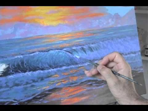 ▶ How to paint an ocean wave with acrylics painting lesson class colorfull sunset beach ripples - YouTube