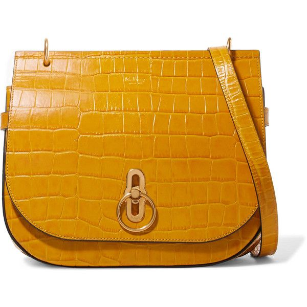 0c757a7e2c2f Mulberry Amberley croc-effect leather shoulder bag ❤ liked on Polyvore  featuring bags
