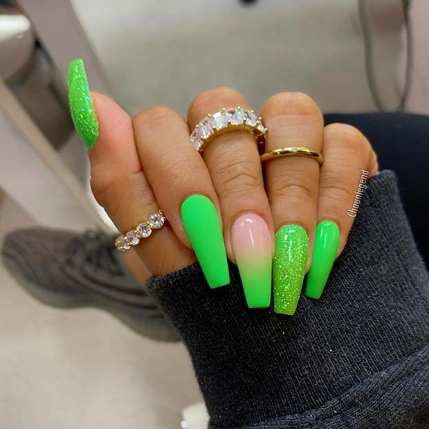 43 Neon Green Nails To Inspire Your Summer Manicure Page 2 Of 4 Stayglam In 2020 Neon Green Nails Green Acrylic Nails Green Nails
