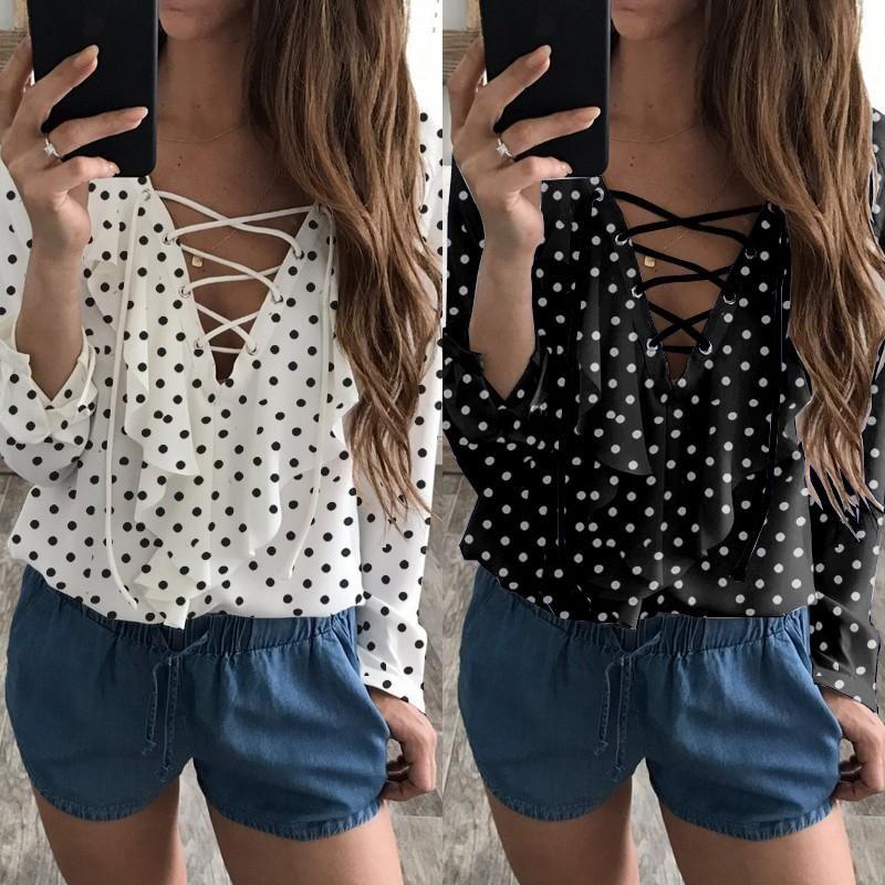 3151e09bd316dc Spring Summer Women Chiffon Blouse Lace Up V Neck Ruffles Long Sleeve Black  White Tops Casual Plus Size Shirts