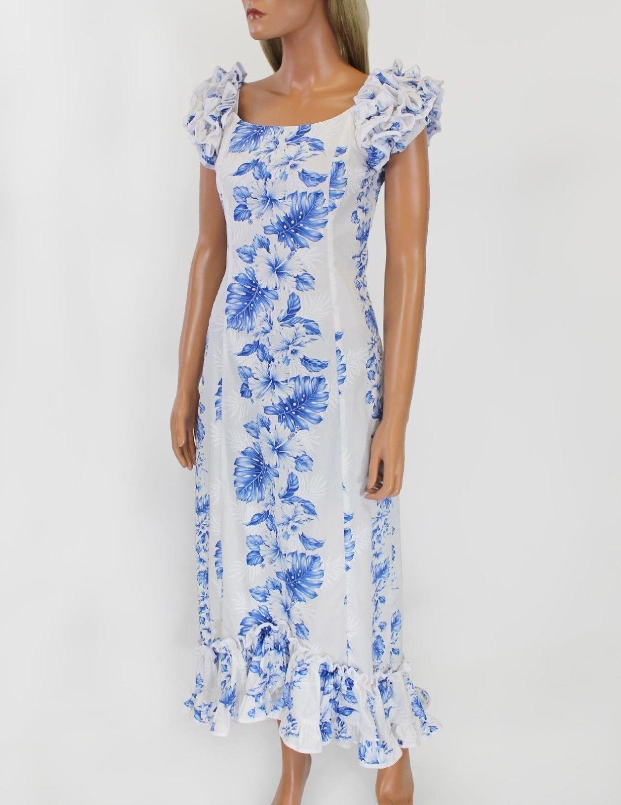 Hawaii Muumuu Dress - Plus Size XS - 3XL Blue/White Floral Aloha ...