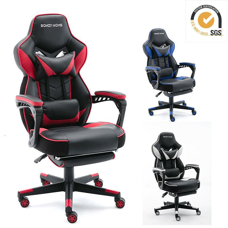 Gaming Chair Racing Style Leather Office Recliner Computer Seat Swivel Footrest In 2020 Gaming Chair Chair Foot Rest