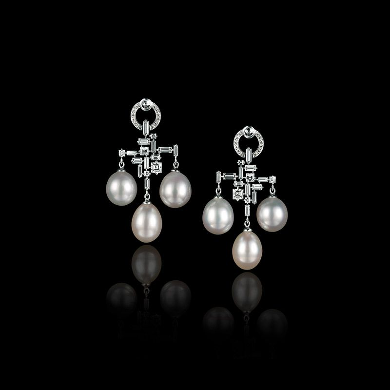 Canturi earrings pearl diamond jools pinterest pearl diamond stefano canturi cubism trilogy pearl and diamond chandelier earrings mozeypictures Image collections