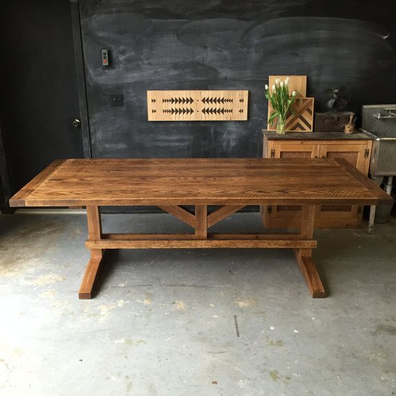 Solid Reclaimed And Rough Sawn Red Oak Farm Dining Table Wood