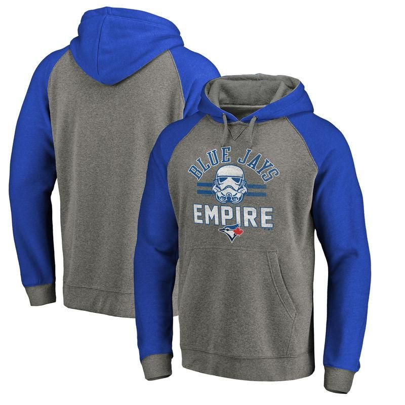 #Fanatics.com - #Fanatics Branded Toronto Blue Jays Fanatics Branded MLB Star Wars Empire Tri-Blend Pullover Hoodie – Heather Gray - AdoreWe.com
