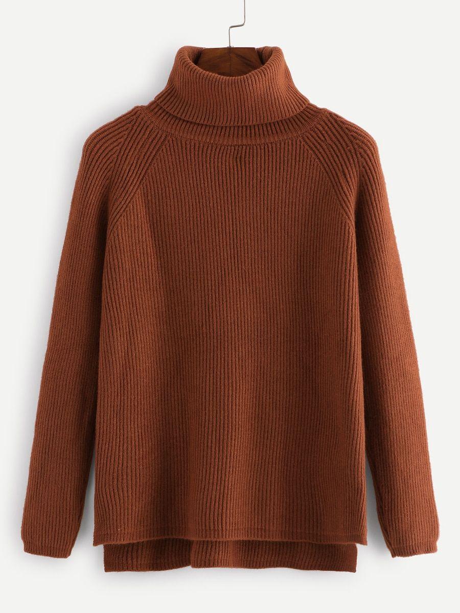 60af6e8c885d High Neck Raglan Sleeve Ribbed Sweater -SheIn(Sheinside)