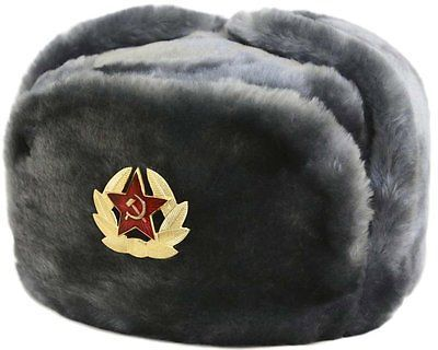 5537e6be71f Trapper hat earflaps up. Authentic-Russian-Military-KGB-Ushanka-Hat-W-Soviet -Red-Army-Badge-Included