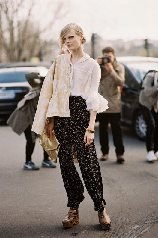 Belgian model Hanne Gaby Odiele, after Dries Van Noten, Paris, February 2014 wearing some serious vintage #modelco